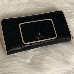 Kate spade zip around wallet pink/tan & black